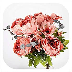 Memoirs- Artificial 11 Brunch Oil Painting Peony Flowers Decorative Silk Flowers Table Arrange for Wedding Home Hotel Decoration,E 65