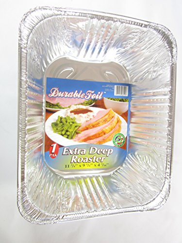 Disposable Aluminum Extra Deep Roaster Pans - Set of 3 (11.75 x 9.25 x 4.2 inches)