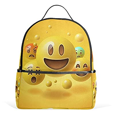 5bf7d87eb138 ... Teen Girls Kids. high-quality JSTEL Yellow Smiley Emoticons Emoji School  Backpack 4th 5th 6th Grade for Boys
