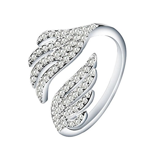 (Sterling Silver Plated Cubic Zirconia Big Double Angel Wings Open Band Ring,Adjustable For US)