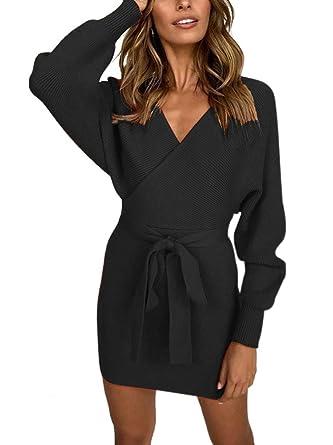 73cd13f38e3f Allumk Women's V Neck Long Batwing Sleeves Bodycon Dress with Belt Party Dress  Black S