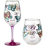 Santa Barbara Design Studio Lolita Hand-painted Artisan Wine Glass and Stemless Wine Glass - Butterfly