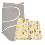 Miracle Blanket Swaddle with 2 pack Muslin Swaddling Blankets, Giraffe and Grey with Yellow