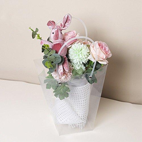 BBC Clear Flower Bouquet Bags with Handle Florist Shop Packaging Supplies, 5 Pcs (4.7 * 9.5 * 10.2 inch)