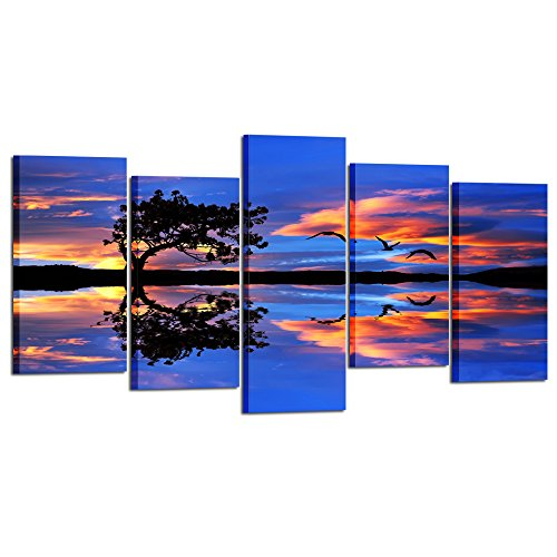 Kreative Arts - Large 5 Panel Canvas Prints Lonely Tree Framed Wall Art Sunset Sky and Clouds of Color in The Lake Purple Scenery Decorations for Living Room (Large Size 60x32inch)