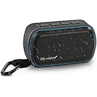 Outdoor Waterproof Bluetooth Speaker IPX7, Myvision Wireless Portable Mini Travel Shower Speaker with Enhanced Bass, Mic&FM Radio, Shockproof for Sports, Pool, Beach, Hiking, Camping