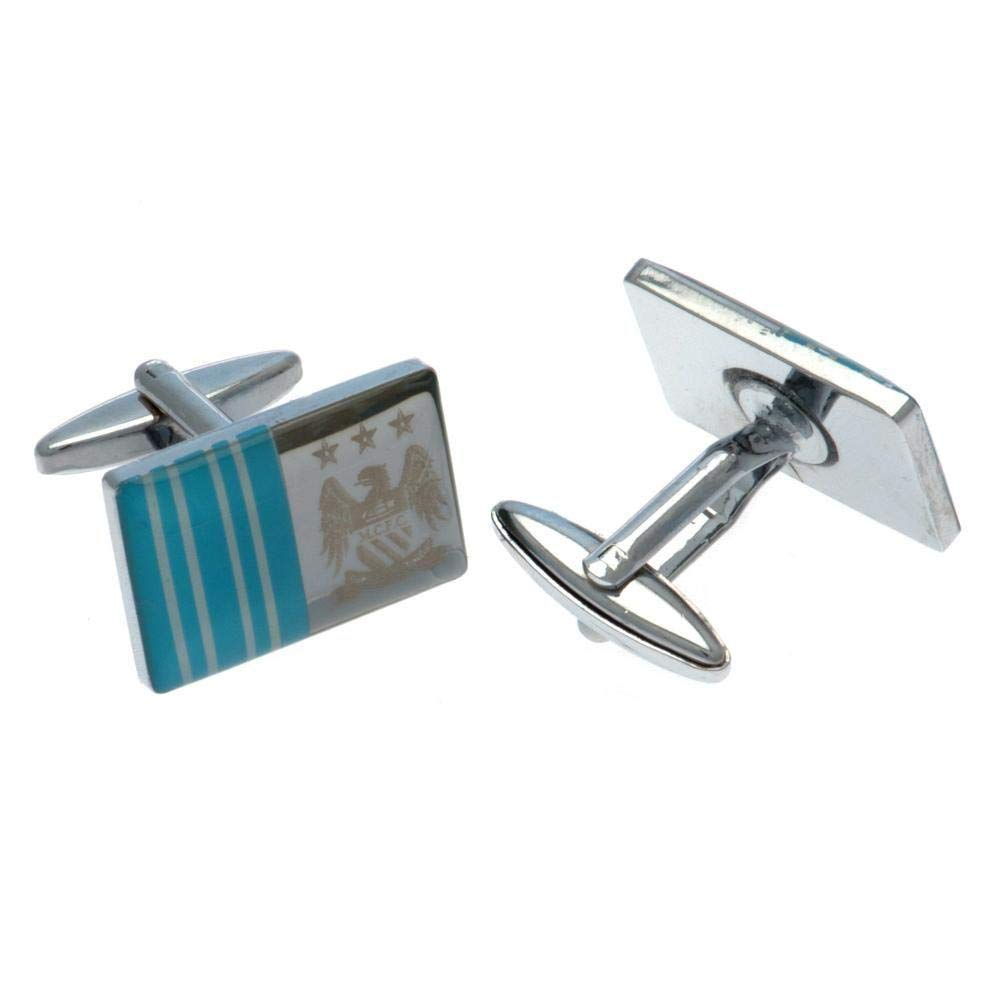 """Approx Features laser crest and team color stripes .7/"""" x .4/"""" Comes in a gift box. Manchester City FC Cufflinks FS"""