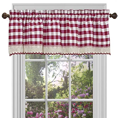 GoodGram Buffalo Check Plaid Gingham Custom Fit Window Curtain Treatments Assorted Colors, Styles & Sizes (Single 14 in. Valance, Burgundy)