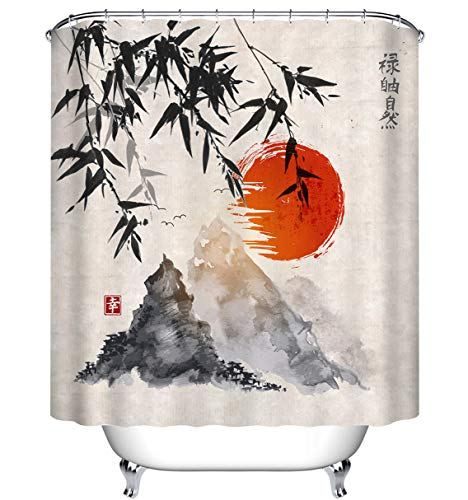 Asian Oriental Fabric - LB Japanese Art Bamboo Mountain Sunset Shower Curtain for Bathroom, Oriental Asian Decor Fabric Shower Stall Bathtub Curtain, Waterproof Fabric Decorative Curtain, 70 x 70