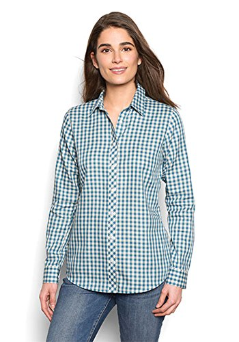 Orvis Wrinkle-Free Checked Cotton-Twill Shirt, Azure, 12 -