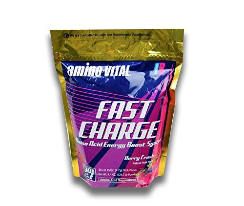 Amino VITAL Fast Charge – Vegan Amino Acid Powder (BCAAs, Glutamine, Arginine) + B-Vitamins – Dry Shot to Boost Natural Energy, Berry Crush, 30 x 4.2g Single-Serve Stick Packs
