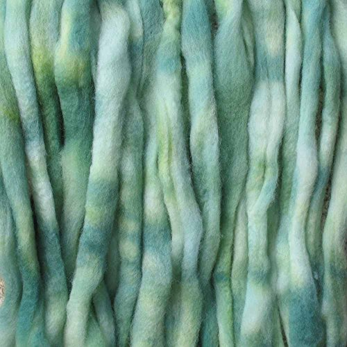 Wool Roving Craft Fiber. Hand Dyed Soft BFL Wool Top. Pre-drafted for easy Hand Spinning, Needle Felting, Wet Felting, Weaving, Embellishments and Felted Soap. 1 Ounce, Ocean Green (Embellishment Needle)