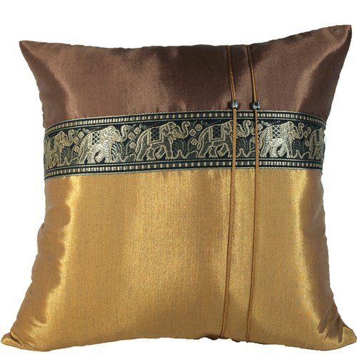 Ayutthaya Throw Cushion Cover /pillow Elephant Middle Textile Design Handmade By Thai Silk Size 16x16 Inches (dark Brown with Brown).