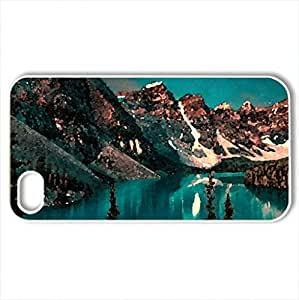 beautiful nature - Case Cover for iPhone 4 and 4s (Mountains Series, Watercolor style, White)