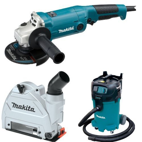 Makita GA5020 5-Inch Angle Grinder with Super Joint System  with Makita 196846-1 Dust Extracting Tuck Point Guard, 5 inch with Makita VC4710 12-Gallon Wet/Dry Vacuum