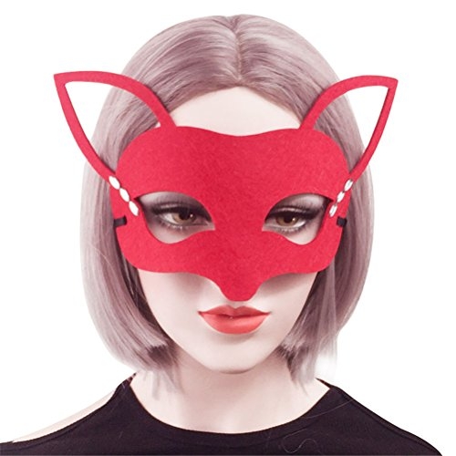 Fox Costume Mask for Women Cute, Halloween Masquerade Funny Animal Masks Red (Red) -