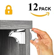 Ellas Homes MAGNETIC BABY LOCKS | No Tools Needed - 3M Adhesive | Amazing for Baby Proofing Kitchen & Child Locks | Quality Design | Child Safety | Cabinet Locks | White (12 pack)