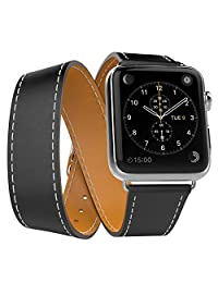 Apple Watch Band Series 1 Seris 2, MoKo Luxury Genuine Leather Smart Watch Band Strap Double Tour Replacement for 42mm Apple Watch Models, BLACK (Not Fit 38mm Versions)