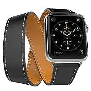 MoKo Band for Apple Watch Series 1 Series 2, Luxury Genuine Leather Smart Watch Band Strap Double Tour Replacement for 42mm Apple Watch 2015 & 2016 All Models, BLACK (Not Fit 38mm Versions)