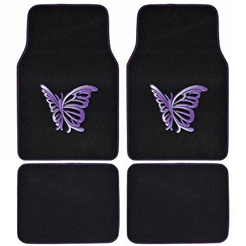 BDK MT-509-PP Purple White Butterfly Design Carpet Car Floor Mats for Auto Van Truck SUV-4 Pieces Front & Rear Full Set with Rubber Backing-Universal Fit