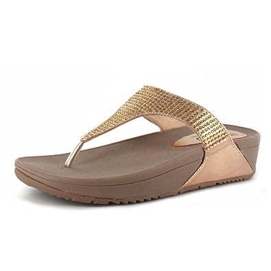 65ef4eb87b40 Ella Womens Shoes Fitness Exercise Toning Flip Flops SP01 - Rose Gold Gold  - WOM-