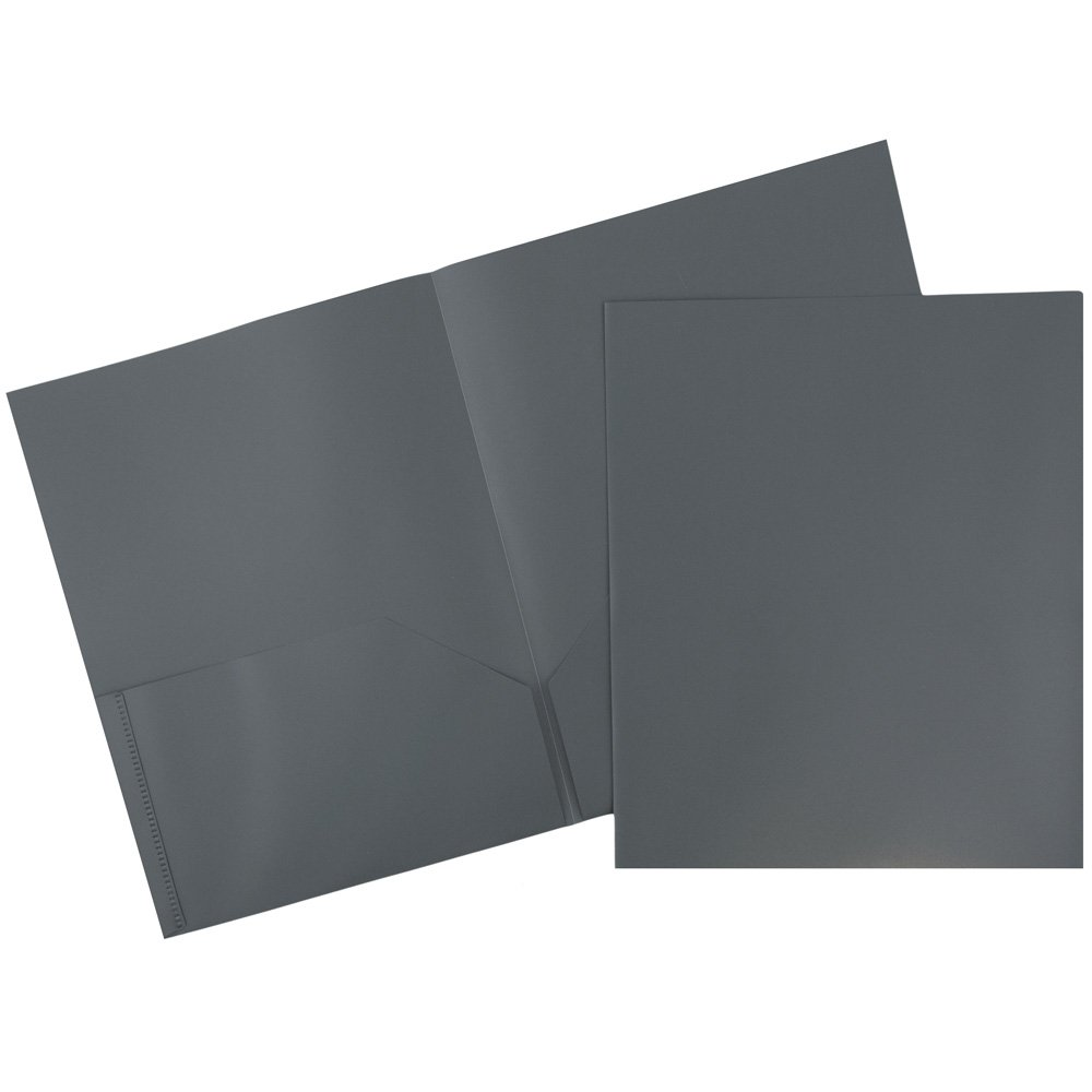 JAM Paper Medium Weight Plastic Presentation Folder - Grey - 96/pack