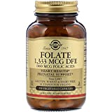 Solgar Folate 1,333 MCG Dietary Folate Equivalent (800 mcg Folic Acid), 250 Tablets - Heart Health, Healthy Nervous System, Prenatal Support - Non-GMO, Vegan, Gluten Free, Dairy Free - 250 Servings