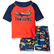 Kiko & Max Baby Boys Set With Short Sleeve Rashguard Swim Shirt, Jawsome Alligator, 3-6 Months