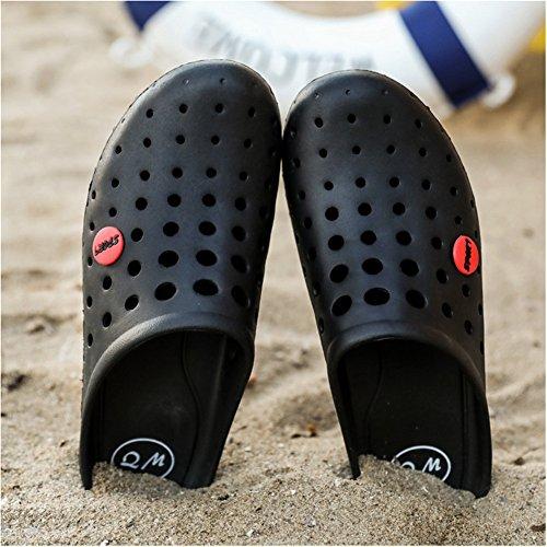 Infradito Mens Estate Sandali Da Spiaggia Zoccoli Da Giardino Ultralight Comfort Pantofole Chiuse Nero
