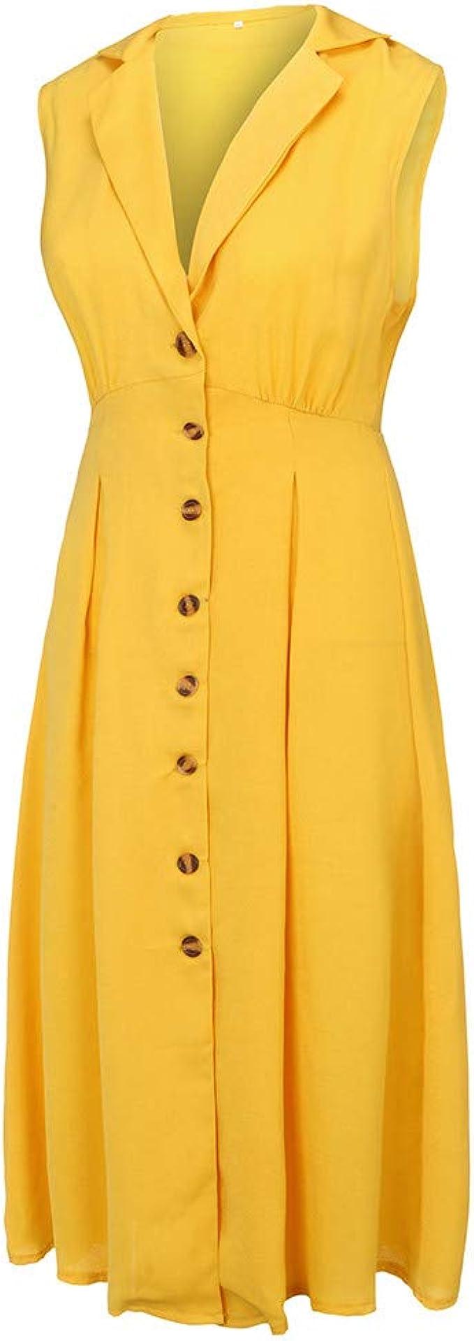 VEMOW Faldas de Las Mujeres Vestido Mujer de algodón y Lino con