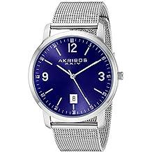 Akribos XXIV Men's AK858 Round Blue Dial Three Hand Quartz Bracelet Watch (Blue)
