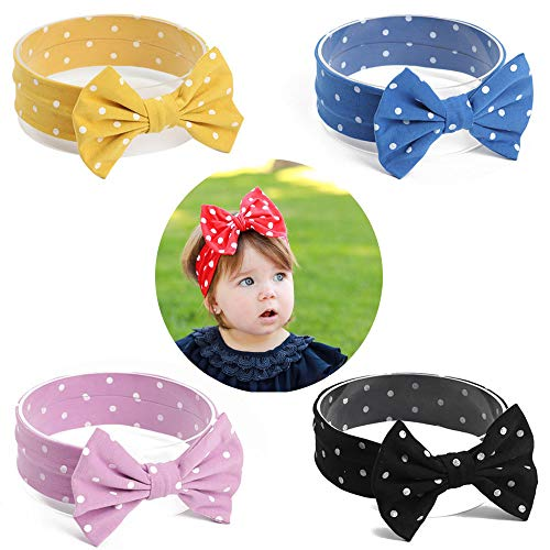 Baby Girl Headbands, AOKE Head Wraps Hairband and Bows forNewborn Infant Toddler, Child Hair Accessories, Dot Printed