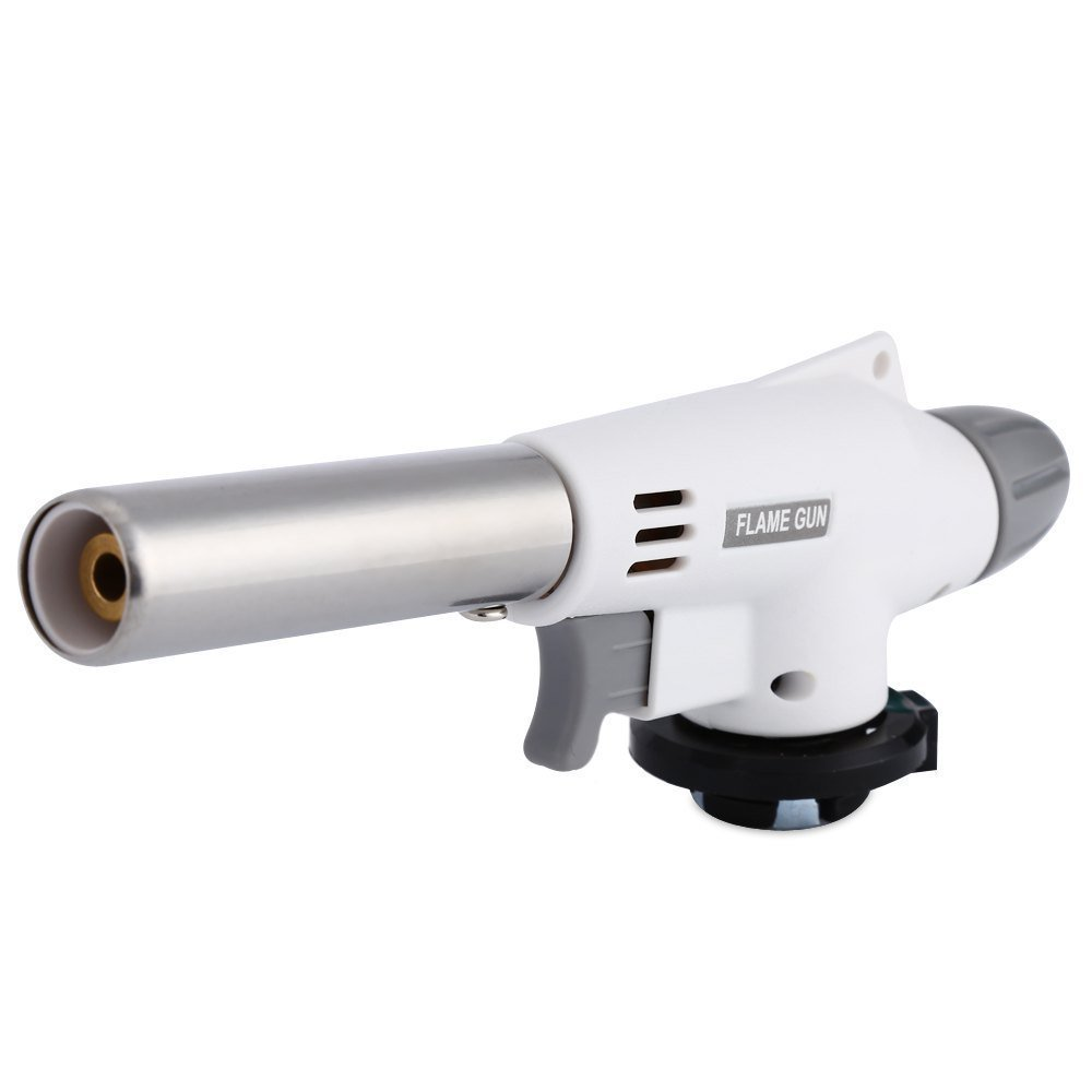 Flame Gun Butane Burners Automatic Electronic Wind Proof Cooking Gas Torch For Pastries, Desserts, Crème Brûlée, Brazing, Soldering, Camping, Welding & More (white)
