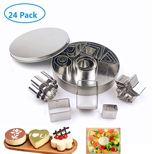 utter Set, 24 PiecesTriangle Circle Rectangle Square Flower Heart Shaped Cookie Cutter Set DIY Biscuits and Fruit Bouquets Vegetable Cutter Shapes Set -Stainless Steel Cutters ()