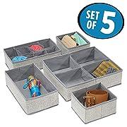 mDesign Fabric Dresser Drawer Storage Organizer for Underwear, Socks, Bras, Tights, Leggings - Set of 5, Gray