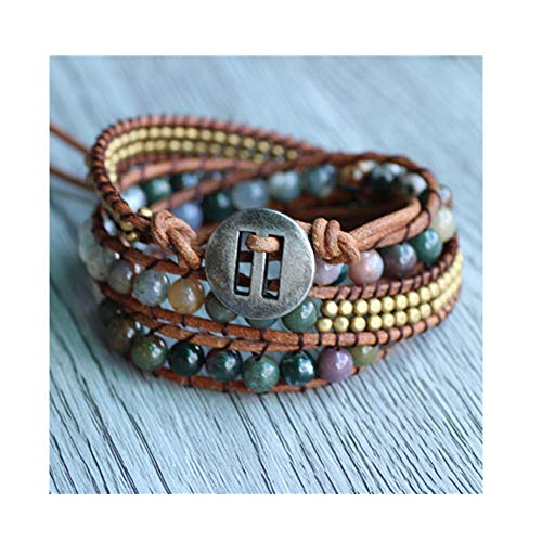 - CAIYCAI Triple India Stone On Natural Leather Strand Bracelets for Handmade Jewelry for Woven Bracelets Wax Cord