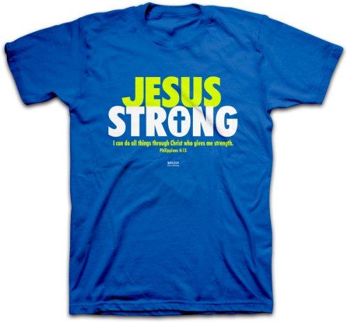 Jesus Strong, Tee, 2X, Royal - Christian Fashion Gifts