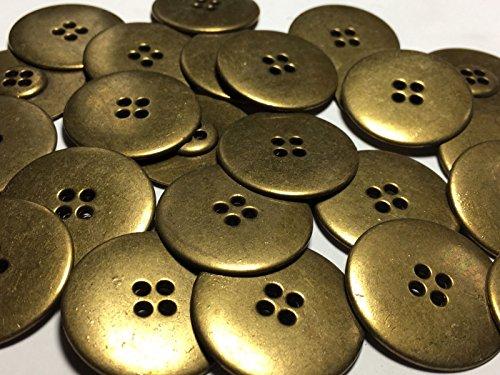 ShopForAllYou Buttons Craft Sewing 25 Large DISC Shape Metal Buttons Antique Brass Finish 1 1/4