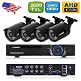 Floureon AF-C006 1X 8CH 1080N AHD DVR + 4X Outdoor Waterproof 2000TVL 960P 1.3MP Camera Security Kit Support Motion Detection Remote Access HDMI Output