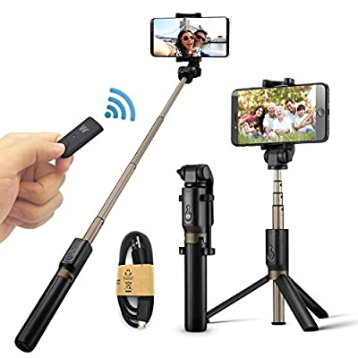 Selfie Stick,Wisdorigin Bluetooth Monopod with Foldable Tripod Stand and Remote Shutter for iPhone 6 6s 7 Plus Android Samsung Galaxy all Cellphones.