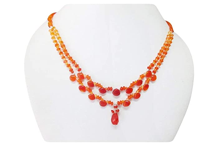 Designer Carnelian gemstone beaded necklace finished with sterling silver  findings 16\