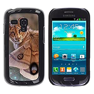 Paccase / SLIM PC / Aliminium Casa Carcasa Funda Case Cover - Lion Butterfly Nature Art Biotechnology Eyes - Samsung Galaxy S3 MINI NOT REGULAR! I8190 I8190N