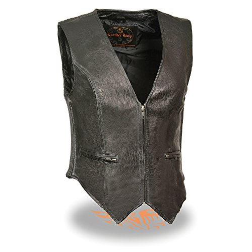 Womens Leather Zip Front Side Stretch Vest