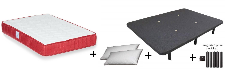 Colchones Dulces Sueños COLCHON VISCO VISCOELASTICO Confort + Base TAPIZADA Maya 3D + 2 Almohada Microfibra
