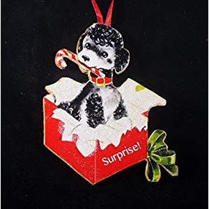 Black Poodle Ornament Handcrafted Wood Christmas Dog Lover's Gift, 1950s Cards, Candy Cane Gift Box Red Dog Collar, Toy Standard 2