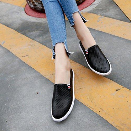 hunpta Ladies Women Hollow Out Shoes Round Toe Platform Flat Heel Slip On Casual Shoes Black mWfDqTT