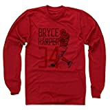 500 LEVEL's Bryce Harper Long Sleeve T-Shirt - Washington Baseball Fan Gear Officially Licensed by the MLB Players Association - Bryce Harper Toon R