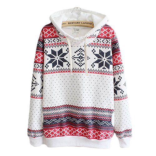 Jiu Ti-Mall Women's National Style Print Snowflake Patterned Loose Hooded - Ti Style Clothes