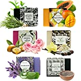 Face Rash Not Itchy - Handmade Soap Bars Gift Set - 6 Pc Purelis Natural Soap Set- Artisan Crafted Soap Bars with Essential Oils. Soap Gift Set for Women Makes Best Bath And Body Holiday Gift for Women!