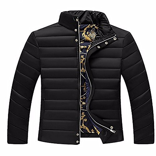ZHUDJ Men's Regular Padded Coat,Simple Going Out Casual/Daily Solid-Cotton polypropylene Long Sleeves Black